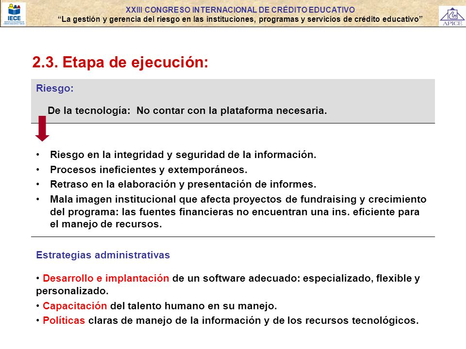 2.3. Etapa de ejecución: Riesgo: De la tecnología: No contar con la plataforma necesaria. Riesgo en la integridad y seguridad de la información. Proce