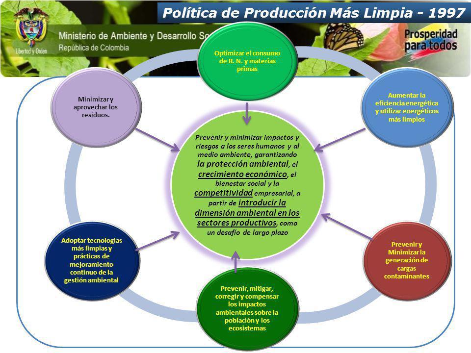 Política de Producción Más Limpia - 1997 Prevenir y minimizar impactos y riesgos a los seres humanos y al medio ambiente, garantizando la protección ambiental, el crecimiento económico, el bienestar social y la competitividad empresarial, a partir de introducir la dimensión ambiental en los sectores productivos, como un desafío de largo plazo Optimizar el consumo de R.