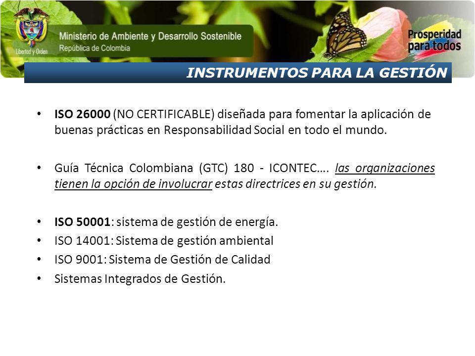 ISO 26000 (NO CERTIFICABLE) diseñada para fomentar la aplicación de buenas prácticas en Responsabilidad Social en todo el mundo. Guía Técnica Colombia