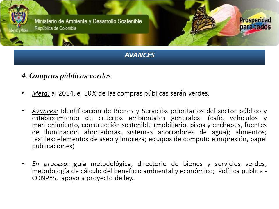 AVANCES 4. Compras públicas verdes Meta: al 2014, el 10% de las compras públicas serán verdes. Avances: Identificación de Bienes y Servicios prioritar