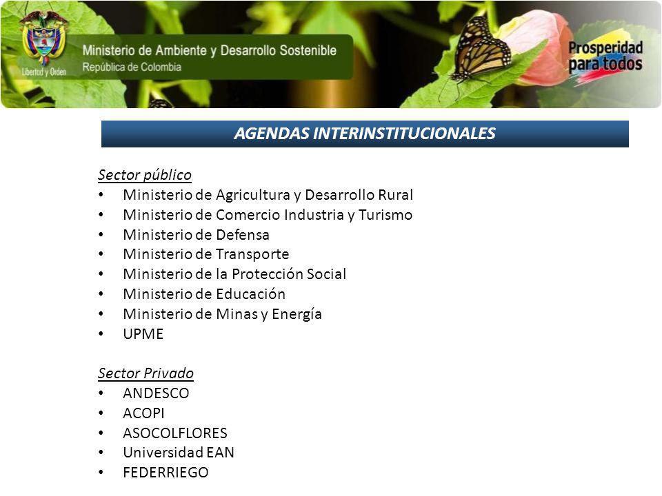 AGENDAS INTERINSTITUCIONALES Sector público Ministerio de Agricultura y Desarrollo Rural Ministerio de Comercio Industria y Turismo Ministerio de Defe