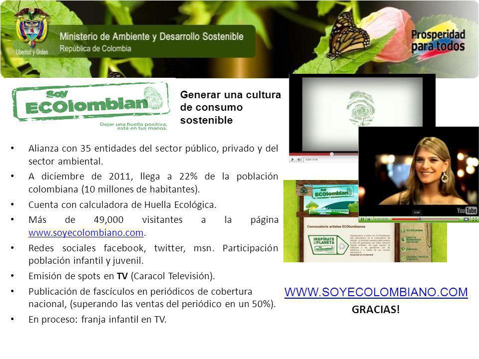 Alianza con 35 entidades del sector público, privado y del sector ambiental. A diciembre de 2011, llega a 22% de la población colombiana (10 millones