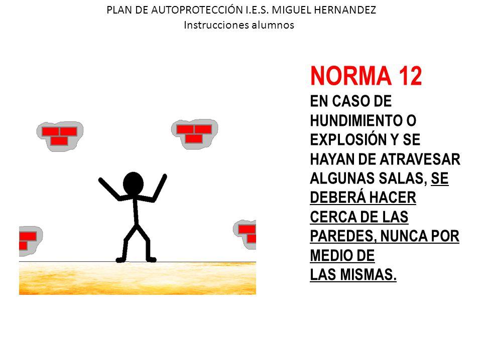 PLAN DE AUTOPROTECCIÓN I.E.S. MIGUEL HERNANDEZ Instrucciones alumnos NORMA 12 EN CASO DE HUNDIMIENTO O EXPLOSIÓN Y SE HAYAN DE ATRAVESAR ALGUNAS SALAS