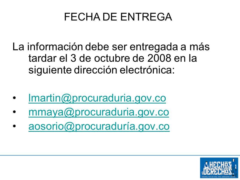 Objetivo específico 3 La información debe ser entregada a más tardar el 3 de octubre de 2008 en la siguiente dirección electrónica: lmartin@procuraduria.gov.co mmaya@procuraduria.gov.co aosorio@procuraduría.gov.co FECHA DE ENTREGA