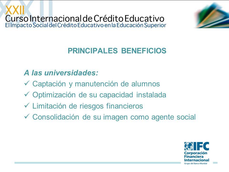 PRINCIPALES BENEFICIOS A las universidades: Captación y manutención de alumnos Optimización de su capacidad instalada Limitación de riesgos financieros Consolidación de su imagen como agente social