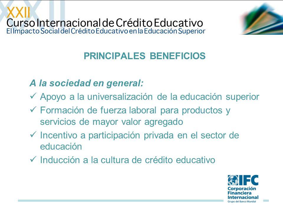 PRINCIPALES BENEFICIOS A la sociedad en general: Apoyo a la universalización de la educación superior Formación de fuerza laboral para productos y servicios de mayor valor agregado Incentivo a participación privada en el sector de educación Inducción a la cultura de crédito educativo