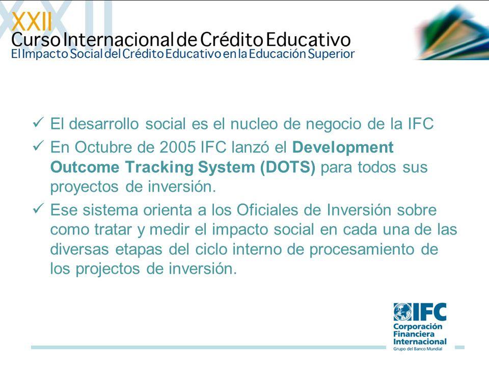 El desarrollo social es el nucleo de negocio de la IFC En Octubre de 2005 IFC lanzó el Development Outcome Tracking System (DOTS) para todos sus proyectos de inversión.