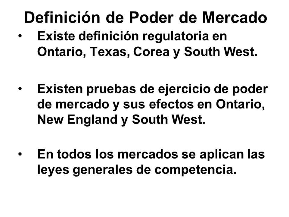 Definición de Poder de Mercado Existe definición regulatoria en Ontario, Texas, Corea y South West. Existen pruebas de ejercicio de poder de mercado y