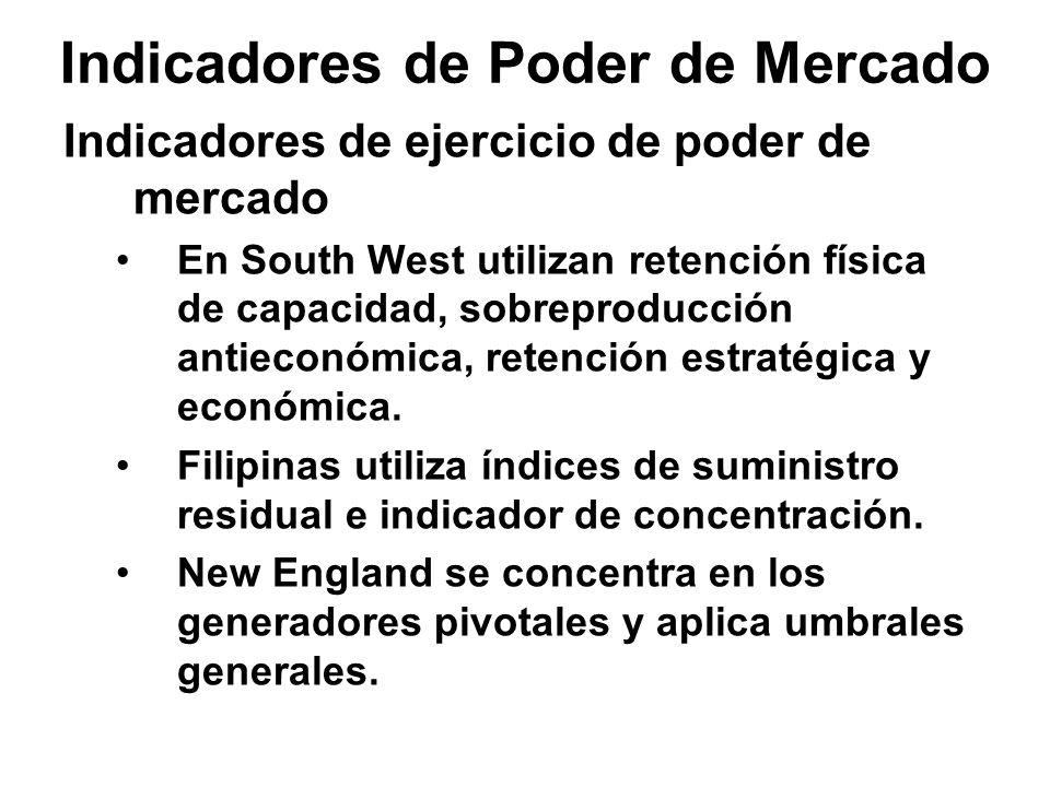 Indicadores de Poder de Mercado Indicadores de ejercicio de poder de mercado En South West utilizan retención física de capacidad, sobreproducción antieconómica, retención estratégica y económica.