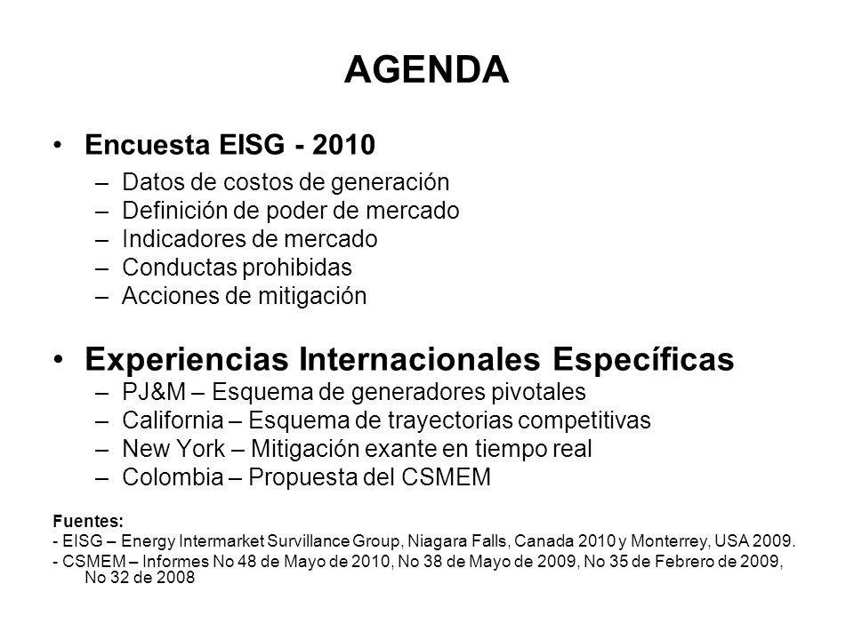 AGENDA Encuesta EISG - 2010 –Datos de costos de generación –Definición de poder de mercado –Indicadores de mercado –Conductas prohibidas –Acciones de