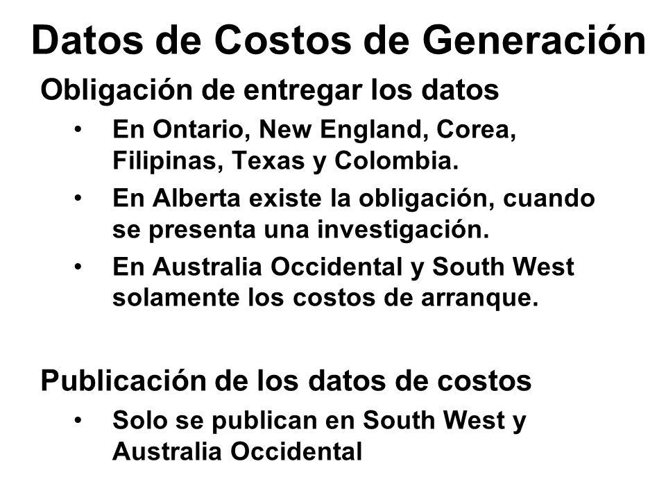 Datos de Costos de Generación Sustituto en ausencia de datos de costos Se usa en Australia, Ontario, Alberta, New England, South West, Filipinas, Texas y Colombia.