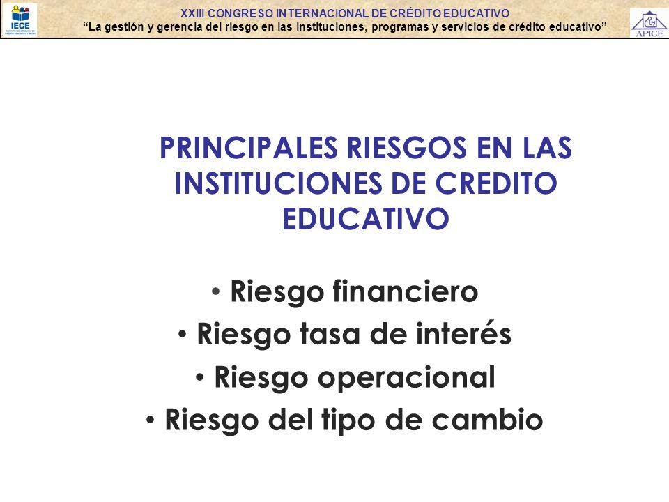 XXIII CONGRESO INTERNACIONAL DE CRÉDITO EDUCATIVO La gestión y gerencia del riesgo en las instituciones, programas y servicios de crédito educativo Ri