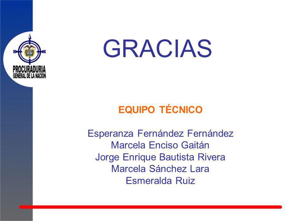 GRACIAS EQUIPO TÉCNICO Esperanza Fernández Fernández Marcela Enciso Gaitán Jorge Enrique Bautista Rivera Marcela Sánchez Lara Esmeralda Ruiz
