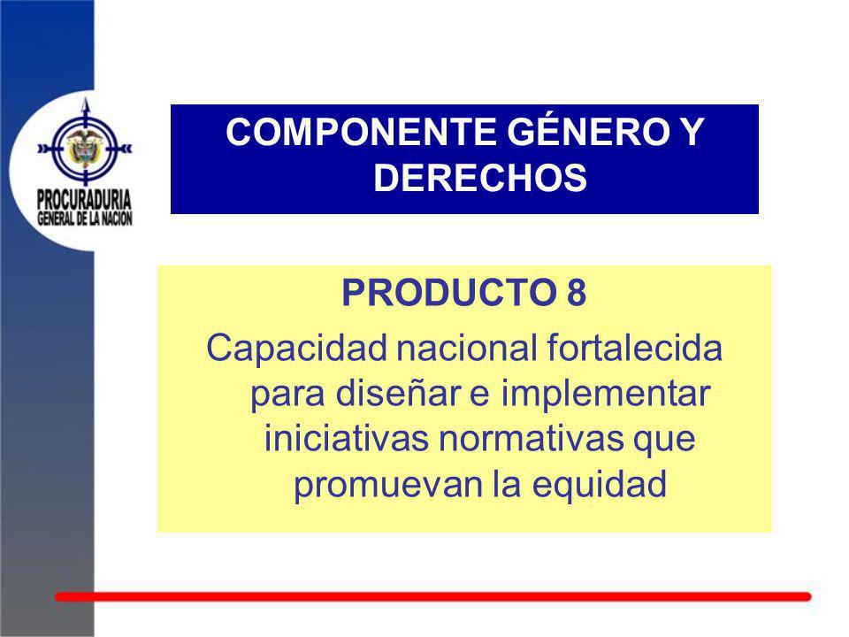 COMPONENTE GÉNERO Y DERECHOS PRODUCTO 8 Capacidad nacional fortalecida para diseñar e implementar iniciativas normativas que promuevan la equidad