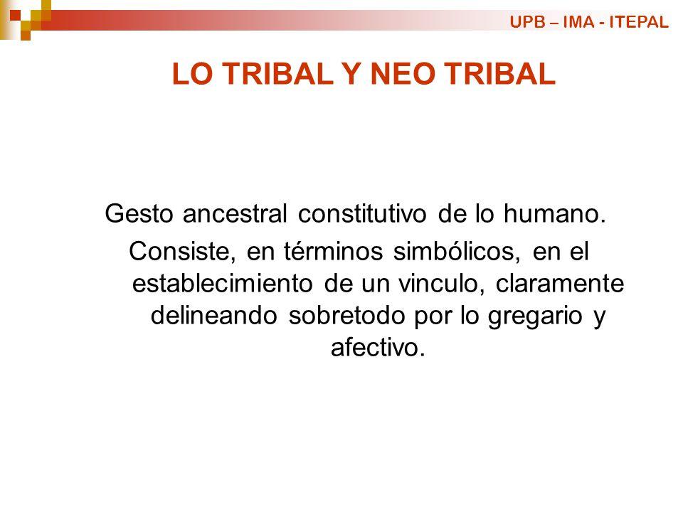 LO TRIBAL Y NEO TRIBAL Gesto ancestral constitutivo de lo humano. Consiste, en términos simbólicos, en el establecimiento de un vinculo, claramente de