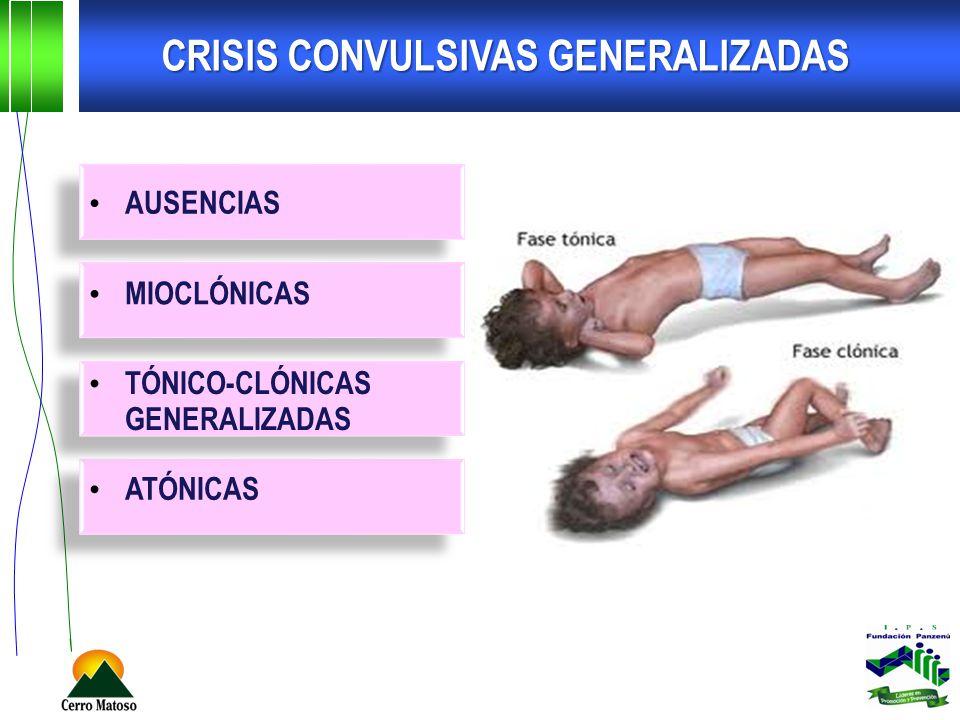 CRISIS CONVULSIVAS GENERALIZADAS AUSENCIAS MIOCLÓNICAS TÓNICO-CLÓNICAS GENERALIZADAS ATÓNICAS
