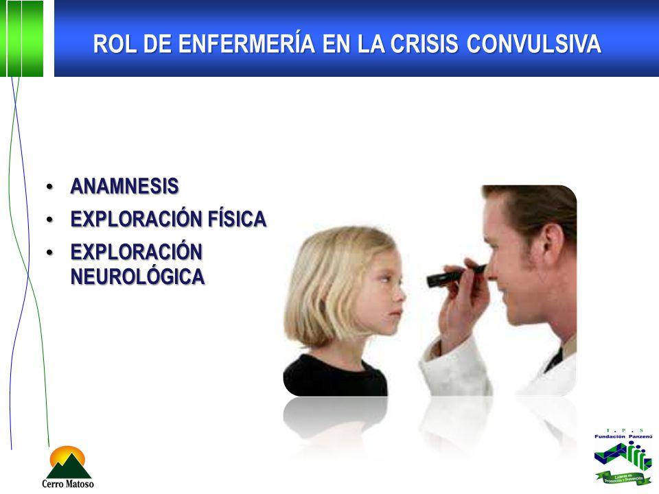ROL DE ENFERMERÍA EN LA CRISIS CONVULSIVA ANAMNESIS ANAMNESIS EXPLORACIÓN FÍSICA EXPLORACIÓN FÍSICA EXPLORACIÓN NEUROLÓGICA EXPLORACIÓN NEUROLÓGICA