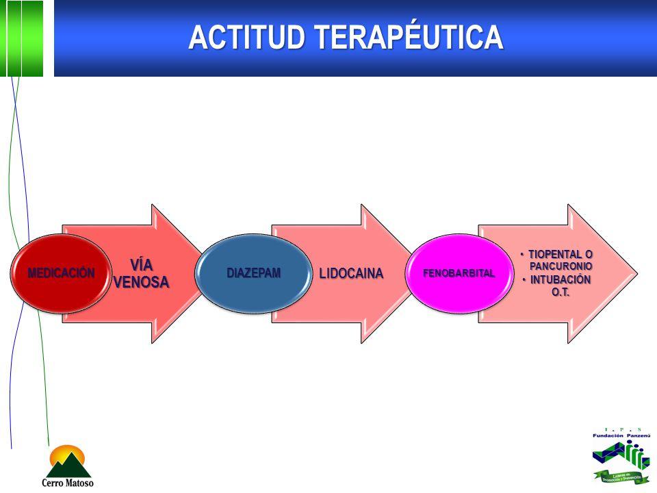 ACTITUD TERAPÉUTICA VÍA VENOSA MEDICACIÓN LIDOCAINA DIAZEPAM TIOPENTAL O PANCURONIO TIOPENTAL O PANCURONIO INTUBACIÓN O.T. INTUBACIÓN O.T. FENOBARBITA