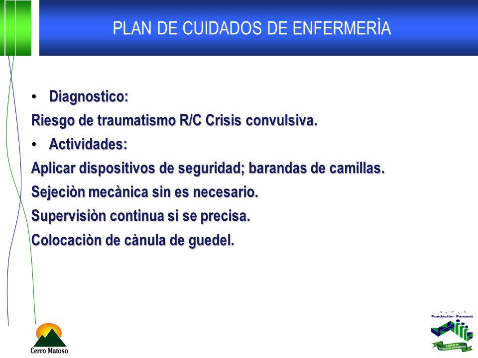 PLAN DE CUIDADOS DE ENFERMERÌA Diagnostico: Diagnostico: Riesgo de traumatismo R/C Crisis convulsiva. Actividades: Actividades: Aplicar dispositivos d