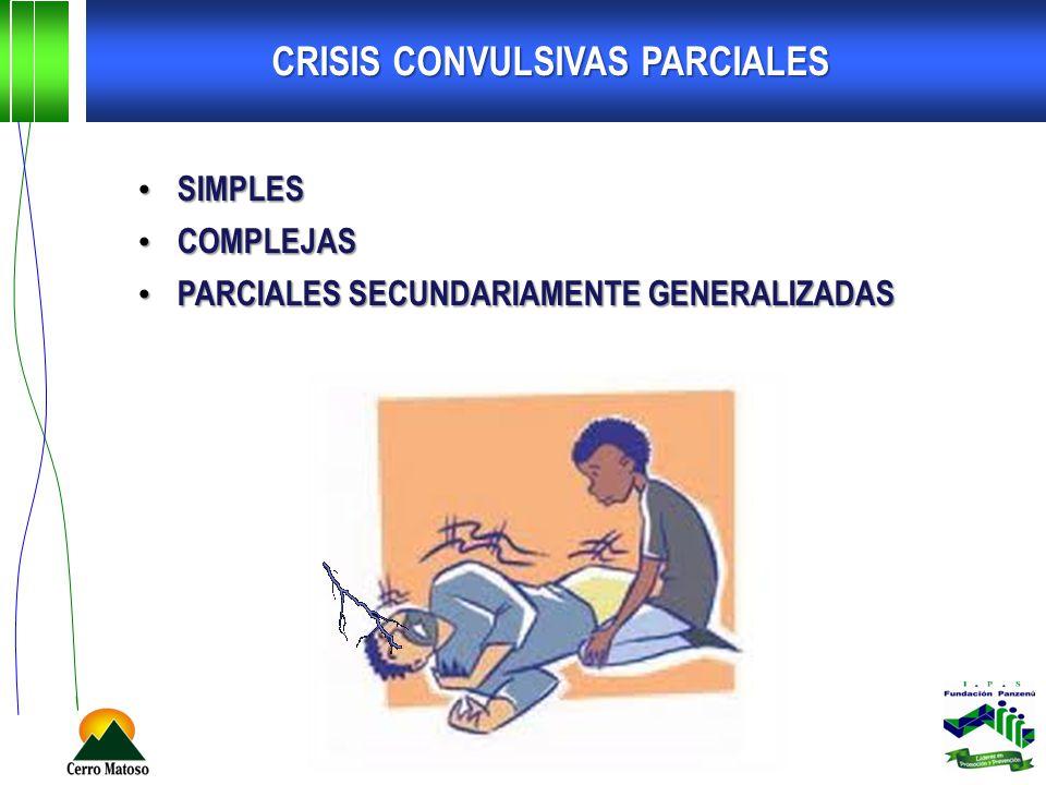 CRISIS CONVULSIVAS PARCIALES SIMPLES SIMPLES COMPLEJAS COMPLEJAS PARCIALES SECUNDARIAMENTE GENERALIZADAS PARCIALES SECUNDARIAMENTE GENERALIZADAS