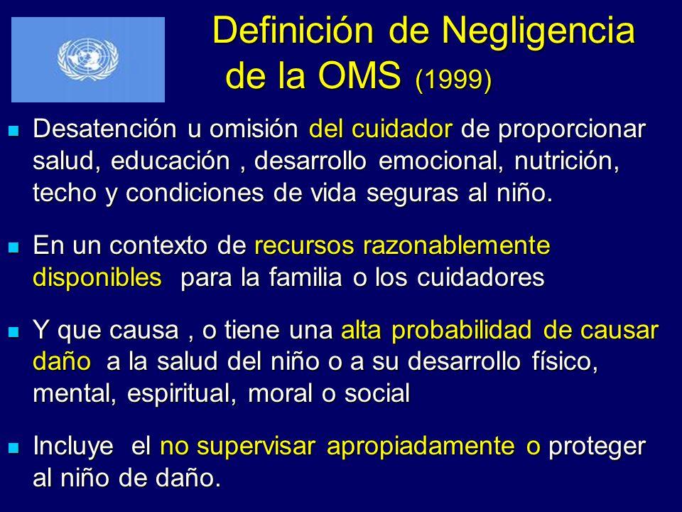 Definición de Negligencia de la OMS (1999) Definición de Negligencia de la OMS (1999) Desatención u omisión del cuidador de proporcionar salud, educac