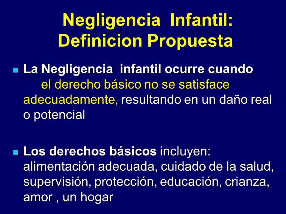 Negligencia Infantil: Definicion Propuesta La Negligencia infantil ocurre cuando el derecho básico no se satisface adecuadamente, resultando en un dañ