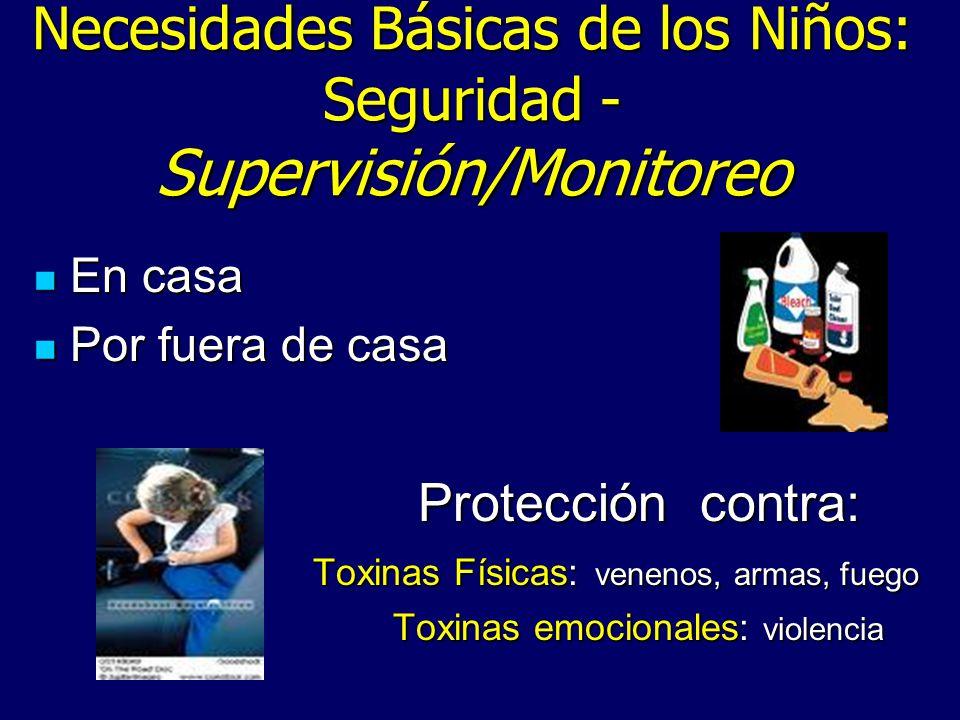 Necesidades Básicas de los Niños: Seguridad - Supervisión/Monitoreo En casa En casa Por fuera de casa Por fuera de casa Protección contra: Toxinas Fís