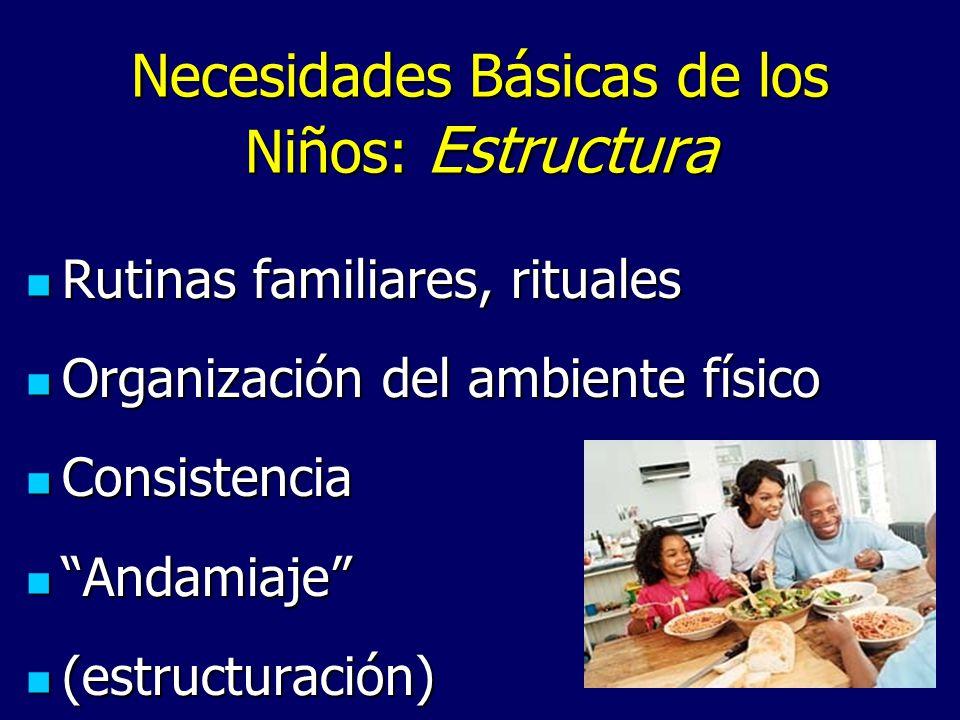 Necesidades Básicas de los Niños: Estructura Rutinas familiares, rituales Rutinas familiares, rituales Organización del ambiente físico Organización d