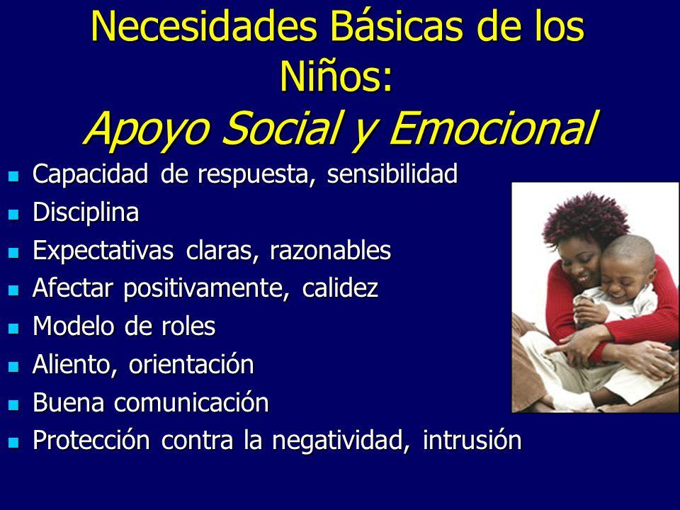 Necesidades Básicas de los Niños: Apoyo Social y Emocional Capacidad de respuesta, sensibilidad Capacidad de respuesta, sensibilidad Disciplina Discip