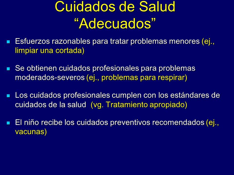 Cuidados de Salud Adecuados Cuidados de Salud Adecuados Esfuerzos razonables para tratar problemas menores (ej., limpiar una cortada) Esfuerzos razona