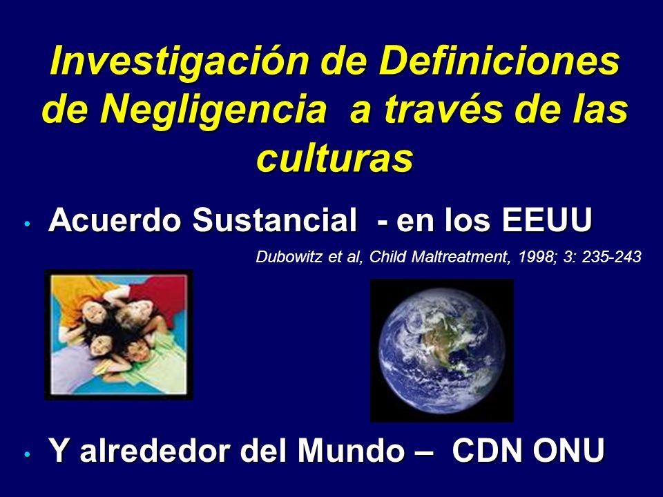 Investigación de Definiciones de Negligencia a través de las culturas Acuerdo Sustancial - en los EEUU Acuerdo Sustancial - en los EEUU Y alrededor de