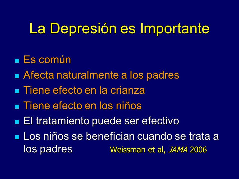 La Depresión es Importante Es común Es común Afecta naturalmente a los padres Afecta naturalmente a los padres Tiene efecto en la crianza Tiene efecto