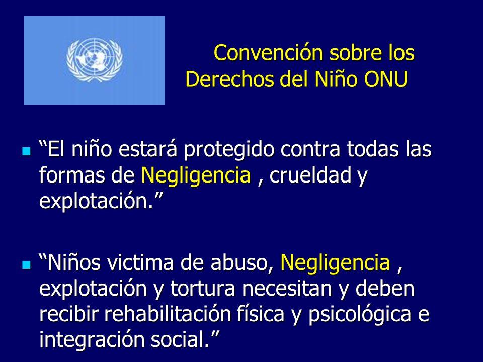 Convención sobre los Derechos del Niño ONU El niño estará protegido contra todas las formas de Negligencia, crueldad y explotación. El niño estará pro