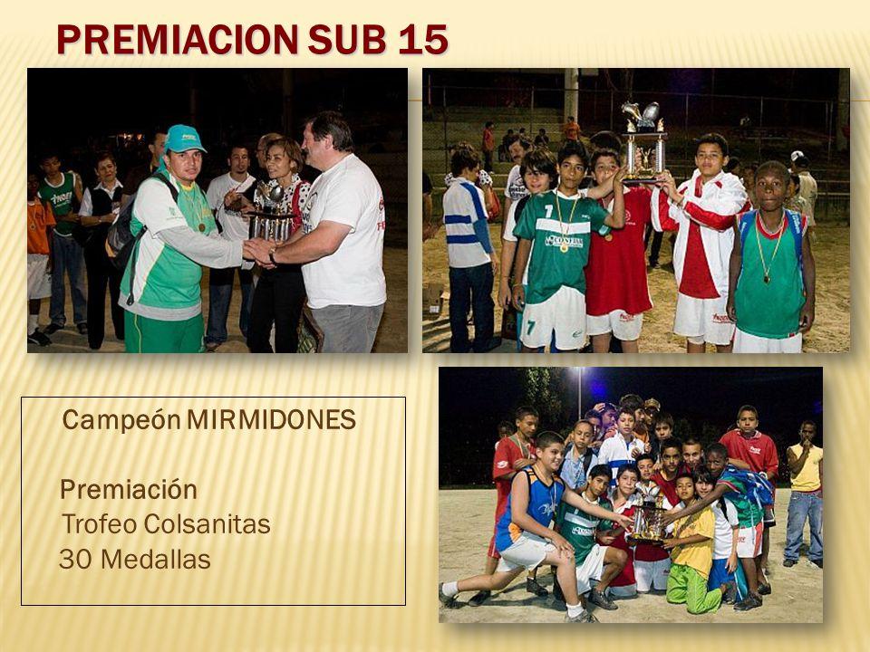 PREMIACION SUB 15 Campeón MIRMIDONES Premiación Trofeo Colsanitas 30 Medallas
