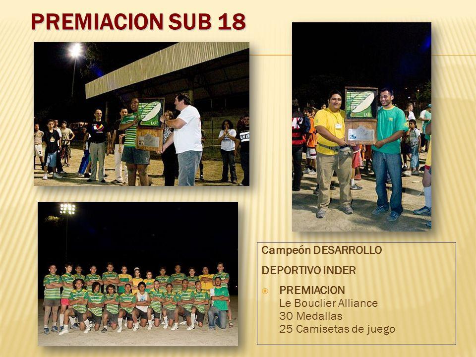 PREMIACION SUB 18 Campeón DESARROLLO DEPORTIVO INDER PREMIACION Le Bouclier Alliance 30 Medallas 25 Camisetas de juego