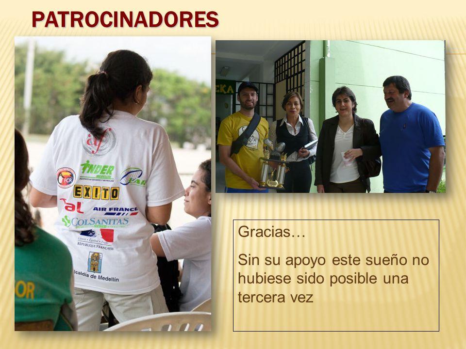 PATROCINADORES Gracias… Sin su apoyo este sueño no hubiese sido posible una tercera vez