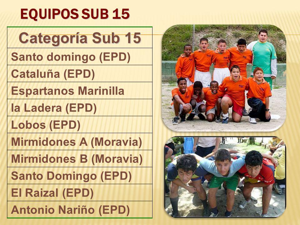 EQUIPOS SUB 15 Categoría Sub 15 Santo domingo (EPD) Cataluña (EPD) Espartanos Marinilla la Ladera (EPD) Lobos (EPD) Mirmidones A (Moravia) Mirmidones