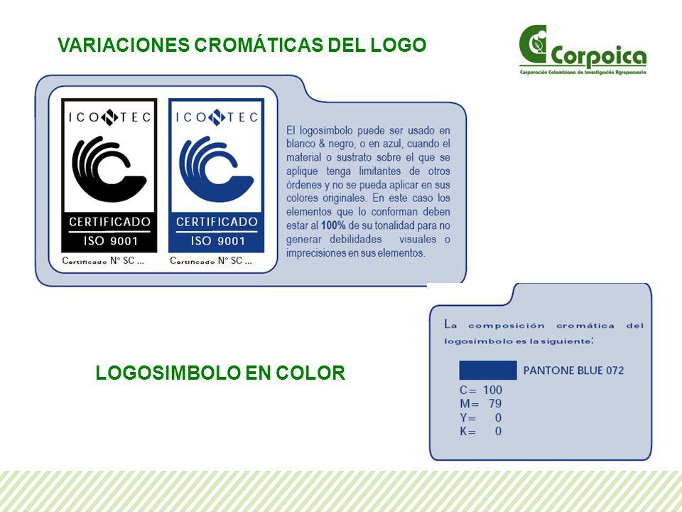 VARIACIONES CROMÁTICAS DEL LOGO LOGOSIMBOLO EN COLOR