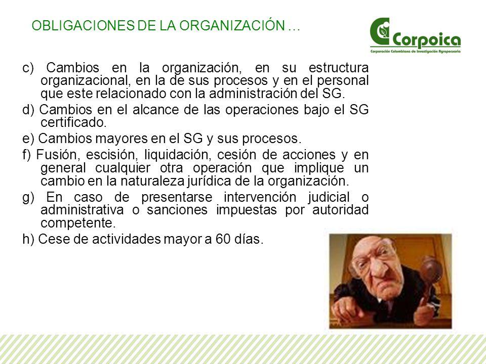 c) Cambios en la organización, en su estructura organizacional, en la de sus procesos y en el personal que este relacionado con la administración del SG.