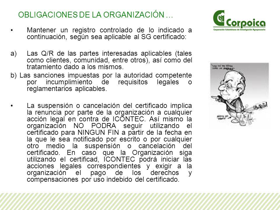 Mantener un registro controlado de lo indicado a continuación, según sea aplicable al SG certificado: a)Las Q/R de las partes interesadas aplicables (