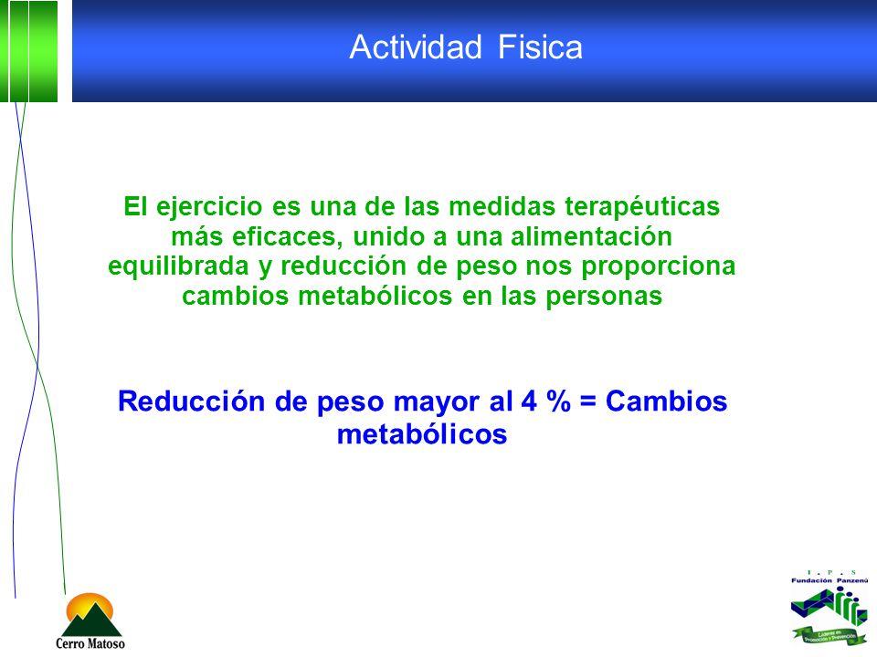 Actividad Fisica El ejercicio es una de las medidas terapéuticas más eficaces, unido a una alimentación equilibrada y reducción de peso nos proporcion