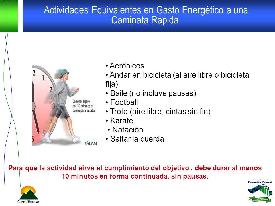 Actividades Equivalentes en Gasto Energético a una Caminata Rápida Aeróbicos Andar en bicicleta (al aire libre o bicicleta fija) Baile (no incluye pau