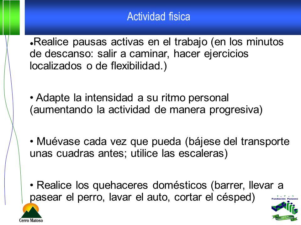 Actividad fisica Realice pausas activas en el trabajo (en los minutos de descanso: salir a caminar, hacer ejercicios localizados o de flexibilidad.) A