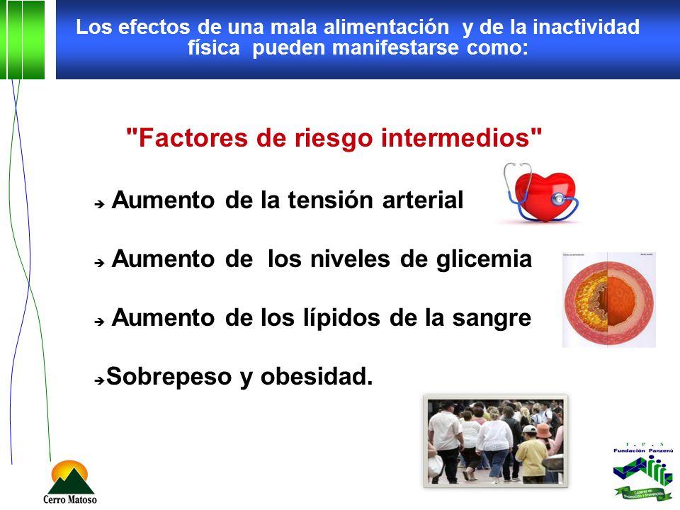 Los efectos de una mala alimentación y de la inactividad física pueden manifestarse como: Factores de riesgo intermedios Aumento de la tensión arterial Aumento de los niveles de glicemia Aumento de los lípidos de la sangre Sobrepeso y obesidad.
