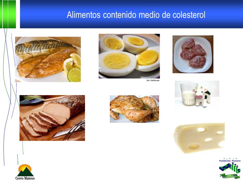 Alimentos contenido alto de colesterol