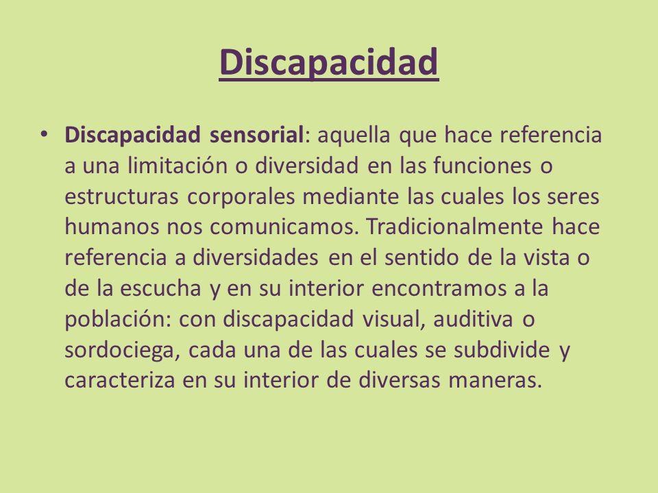 Discapacidad Discapacidad sensorial: aquella que hace referencia a una limitación o diversidad en las funciones o estructuras corporales mediante las