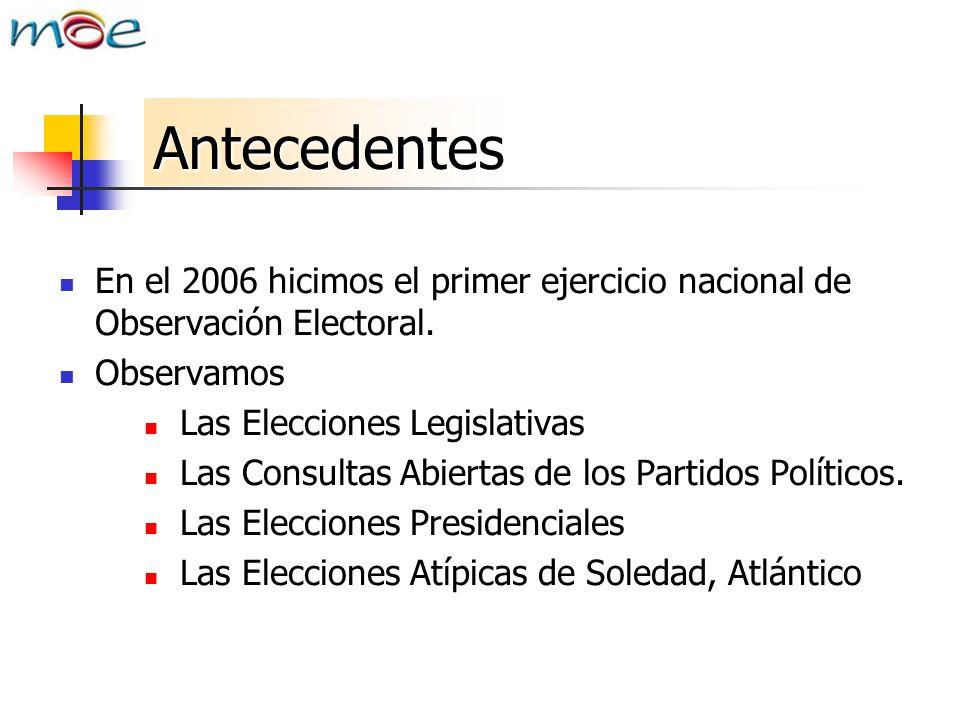 Antecedentes En el 2006 hicimos el primer ejercicio nacional de Observación Electoral. Observamos Las Elecciones Legislativas Las Consultas Abiertas d