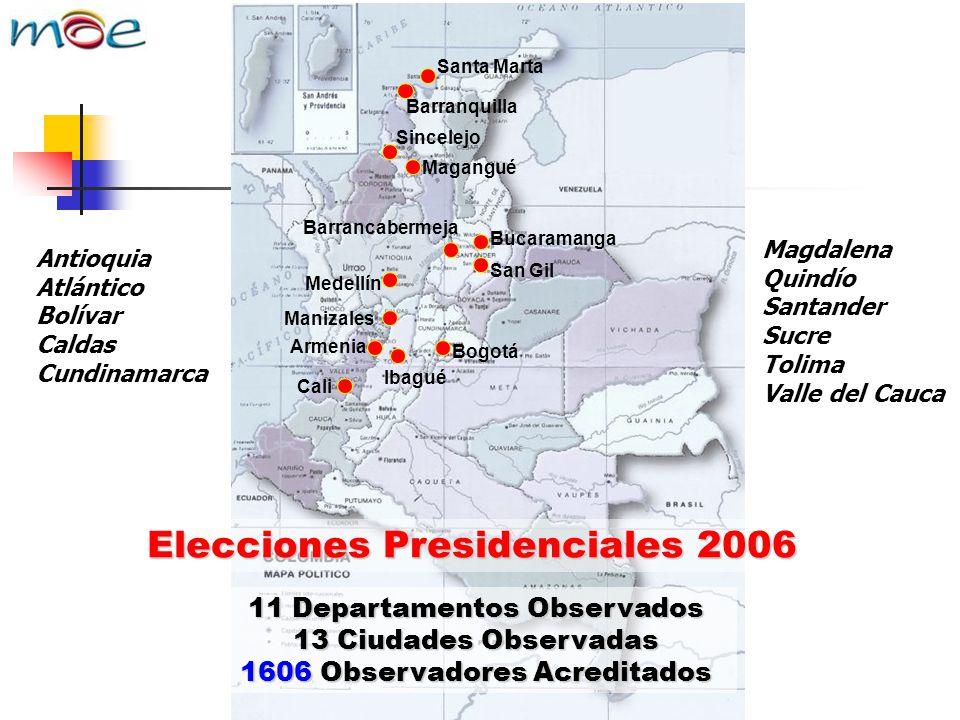 Cali Armenia Bogotá Medellín Sincelejo San Gil Barrancabermeja Bucaramanga Ibagué Manizales Barranquilla Magangué Santa Marta Elecciones Presidenciale