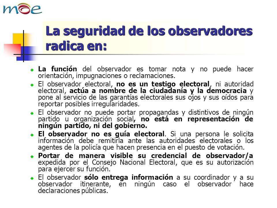 La función del observador es tomar nota y no puede hacer orientación, impugnaciones o reclamaciones. El observador electoral, no es un testigo elector