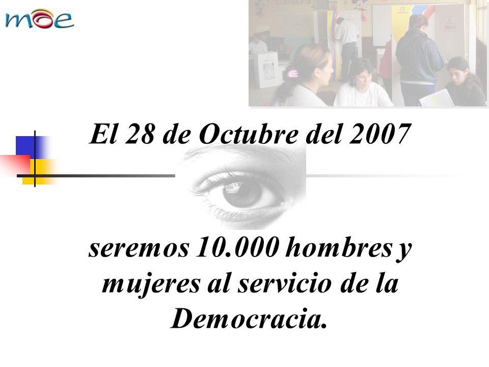 seremos 10.000 hombres y mujeres al servicio de la Democracia. El 28 de Octubre del 2007